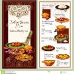 Indian Cuisine Restaurant Menu Template Design Stock Vector Illustration Of Cafe Menu 119209988