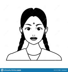 Indian Girl Face Avatar Cartoon In Black And White Stock Vector Illustration of clothing dress: 151117386