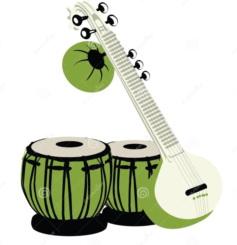 indian musical instruments stock illustration. illustration of