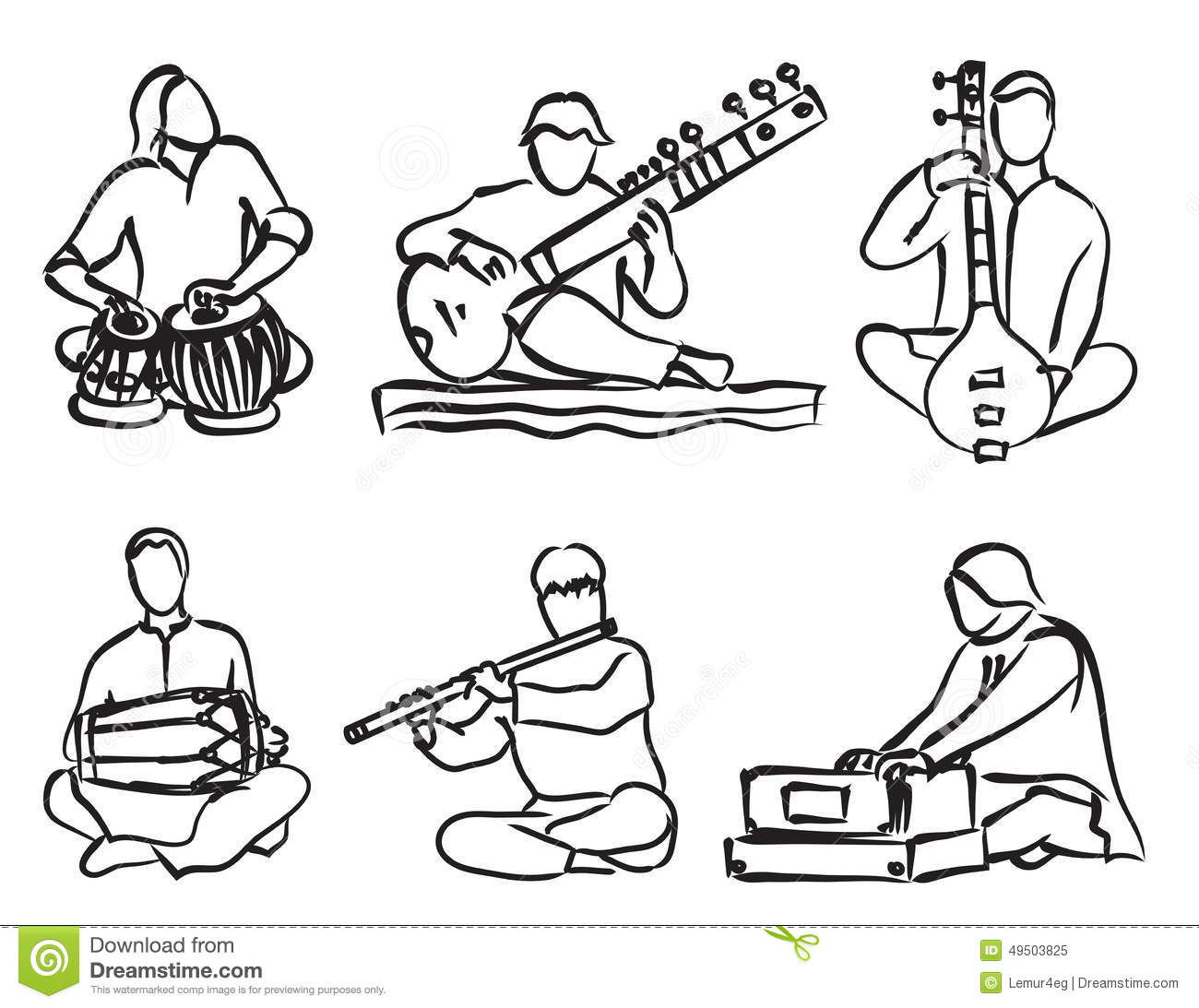 Indian musician set stock vector. Illustration of exotic