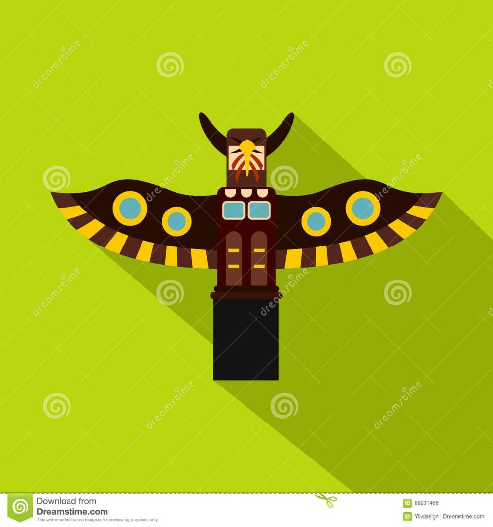medium resolution of indian totem pole in stanley park canada icon flat illustration of indian totem pole
