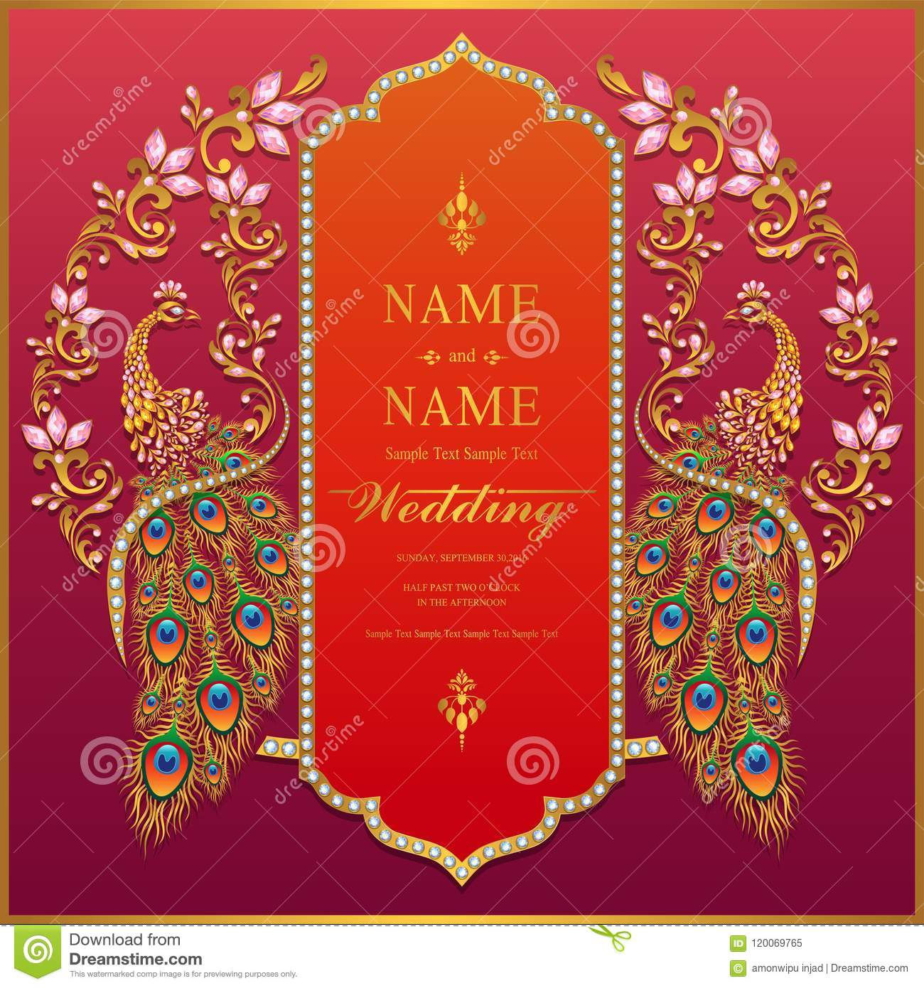 https www dreamstime com indian wedding invitation card templates gold patterned crystals paper color background wedding invitation card image120069765
