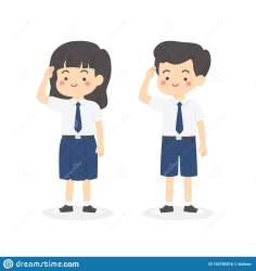uniform cartoon junior indonesian vector salute cute student wearing boy middle preview