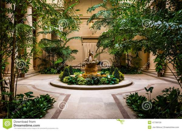 Indoor Garden Area In National Of Art Washington Dc. Editorial Stock