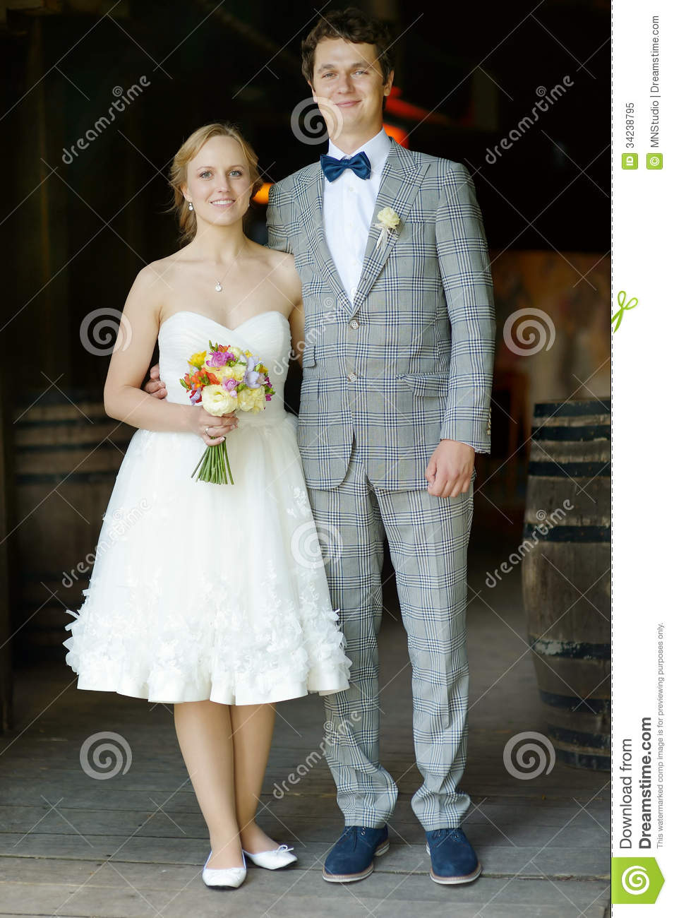 Indoor Portrait Of A Beautiful Bride And Groom Stock Image