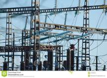 Electric Power Lines Transformer Royalty Free Stock