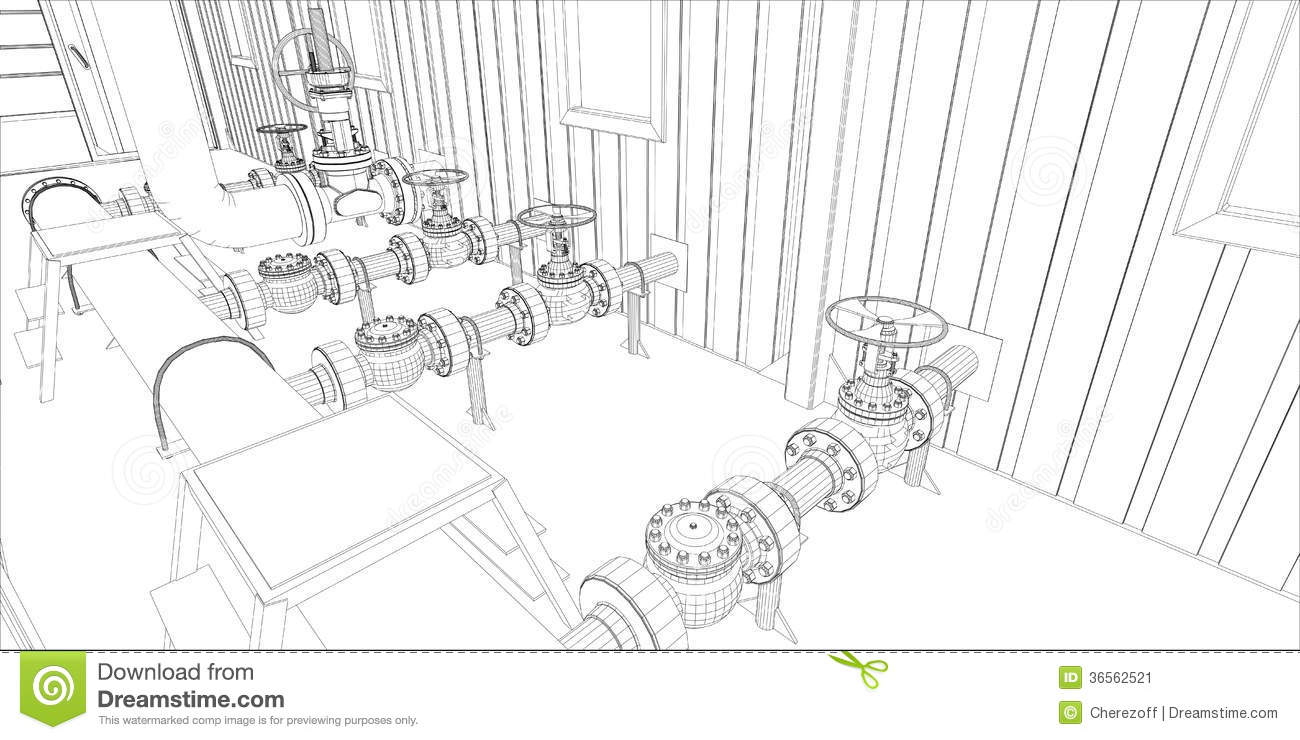 Industrial Equipment. Wire-frame 3d Render Stock