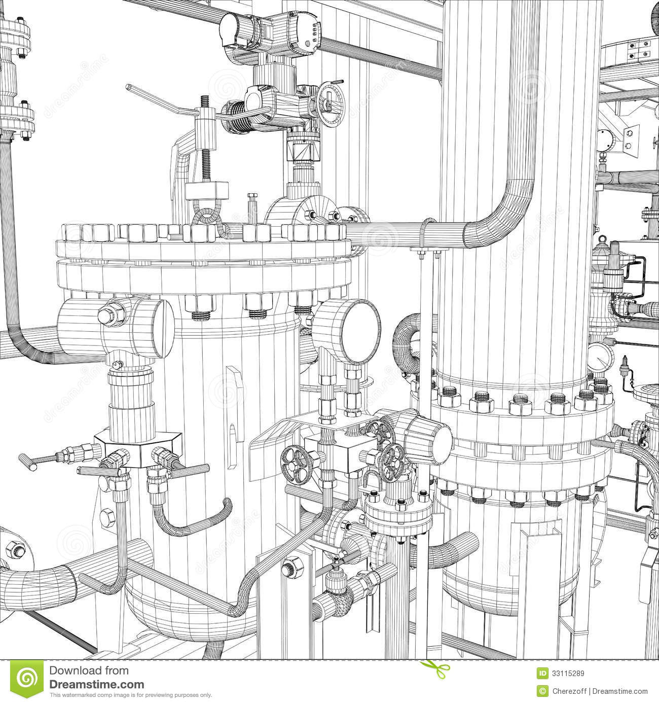 Industrial Equipment. Wire-frame Stock Illustration