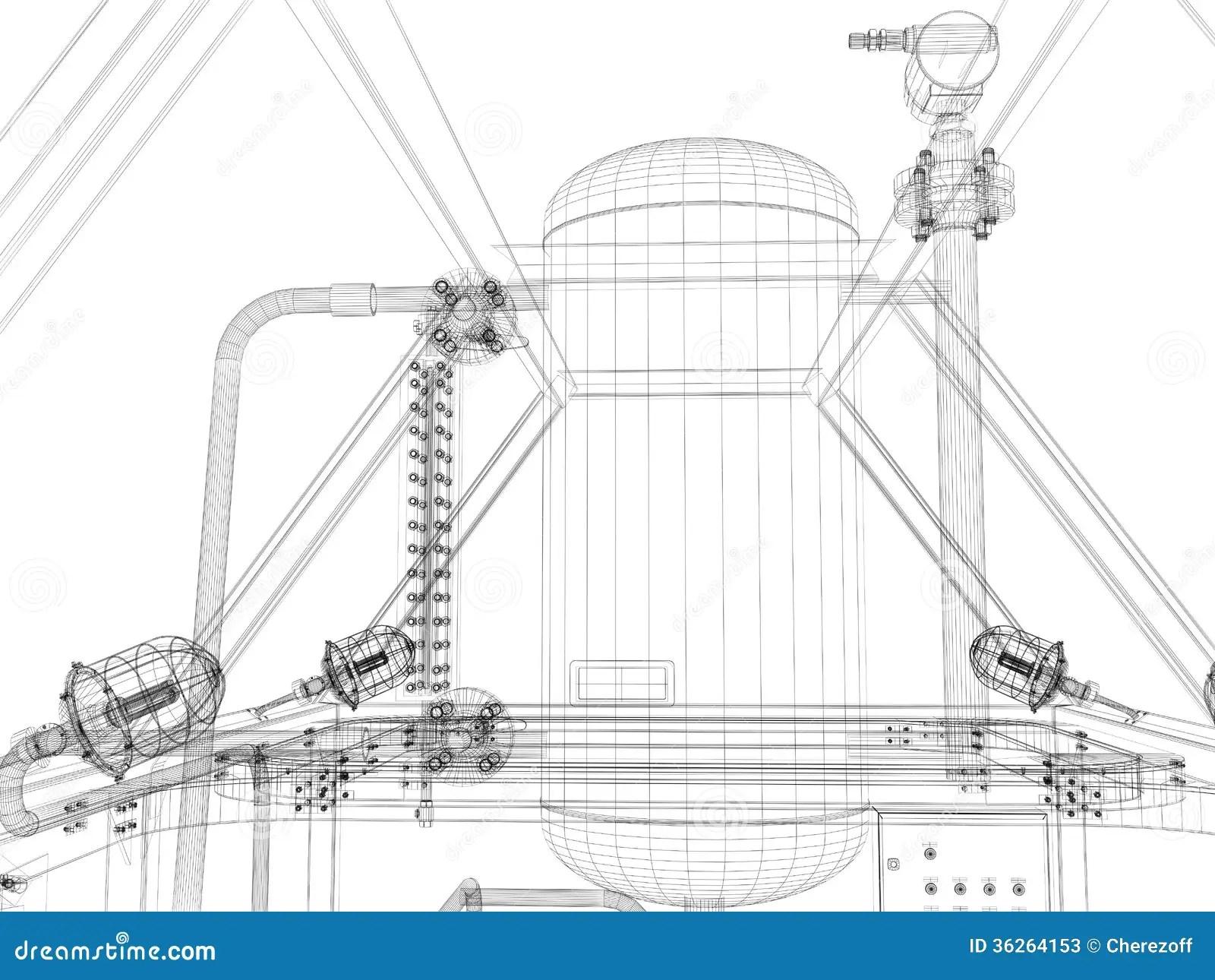 Industrial Equipment. Wire-frame Render Stock Illustration