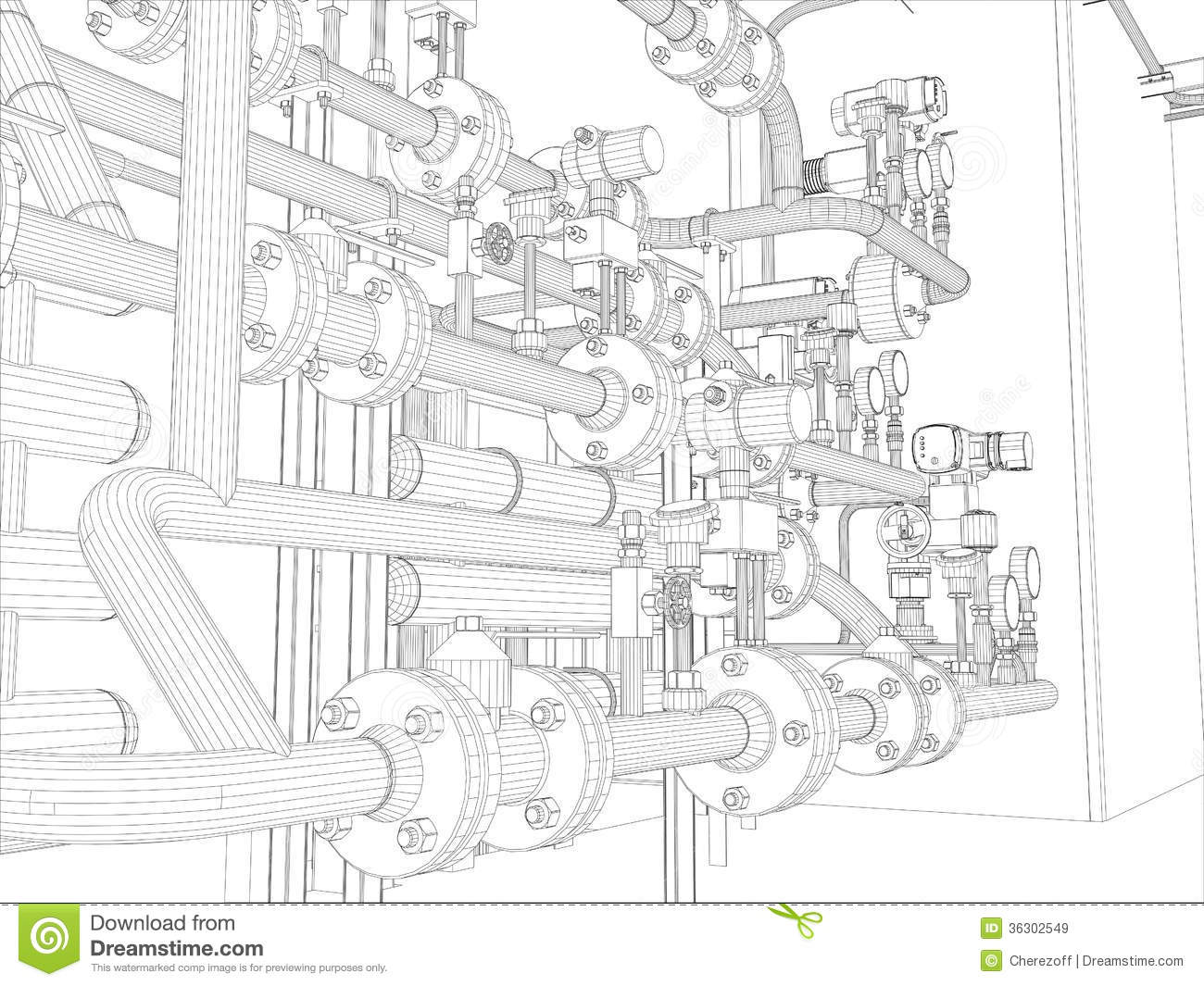 Industrial Equipment. Wire-frame Render Royalty Free Stock