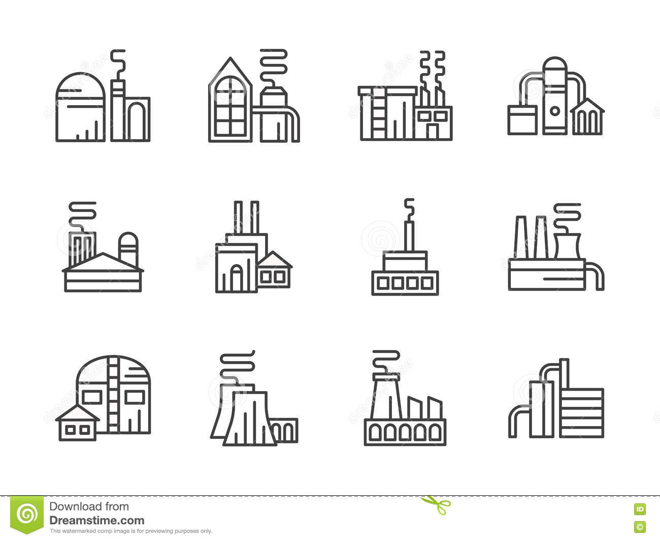 Production Plant Icons Set Simple Style Cartoon Vector