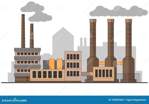 industrial factory landscape. vector