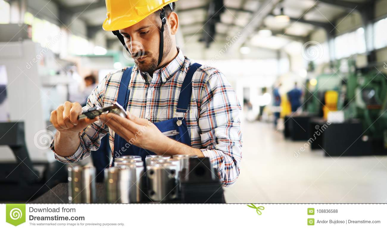 Industrial Factory Employee Working In Metal Manufacturing Industry Stock Photo  Image of