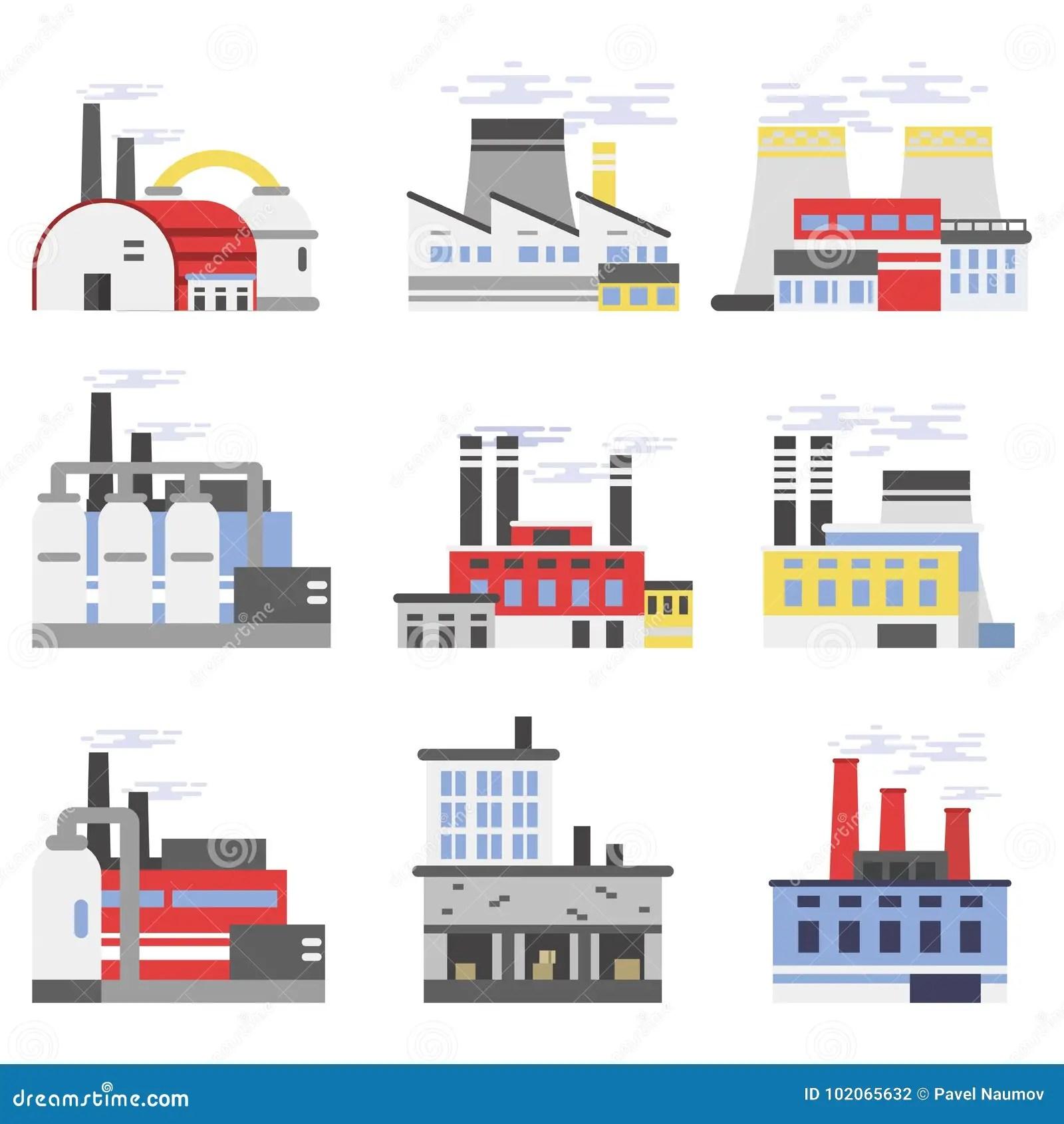 industrial manufactory buildings set