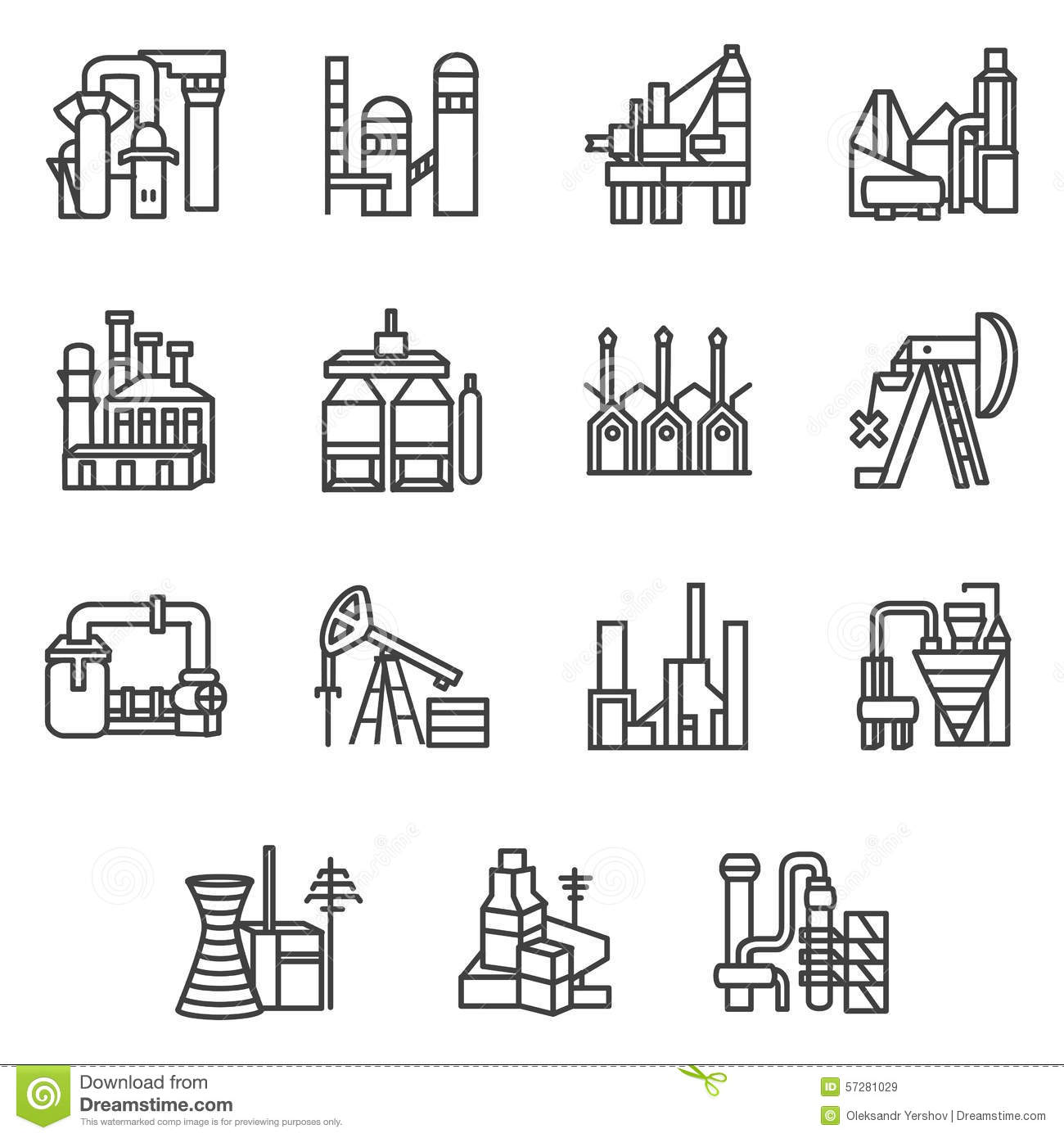 Industrial Objects Line Icons Set Stock Illustration