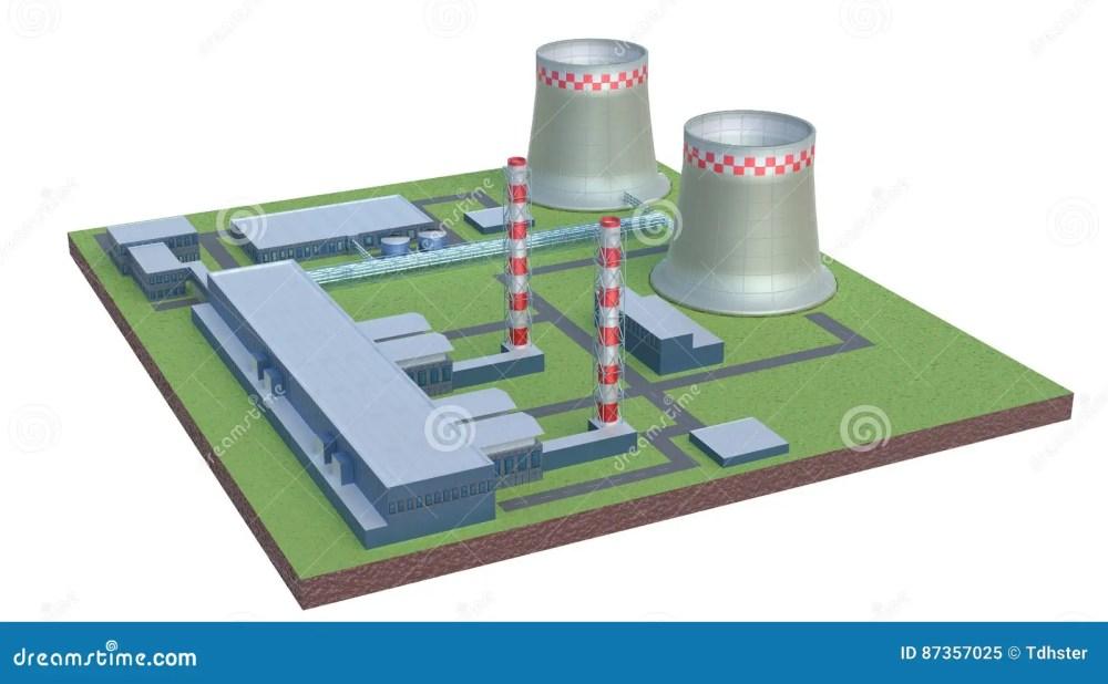medium resolution of industrial power plant building isolated 3d illustration