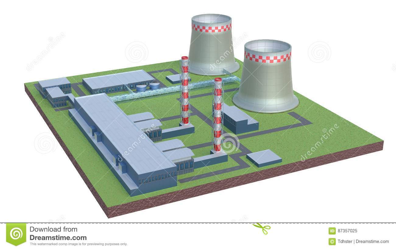 hight resolution of industrial power plant building isolated 3d illustration