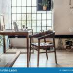 Industrial Style Home Office With Impressive Wooden Oak Desk Stock Photo Image Of Interior Apartment 177652210