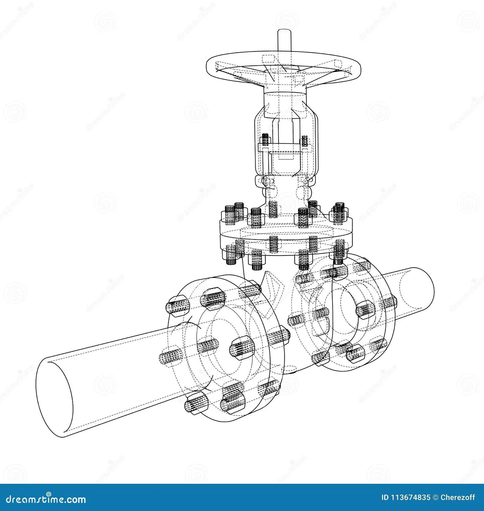 Industrial Valve 3d Illustration Stock Illustration
