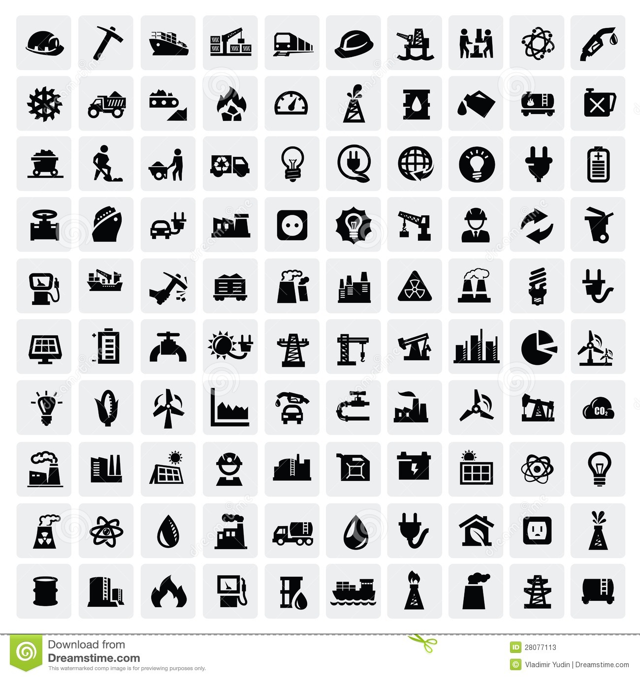 Industry Icons Set Stock Photos