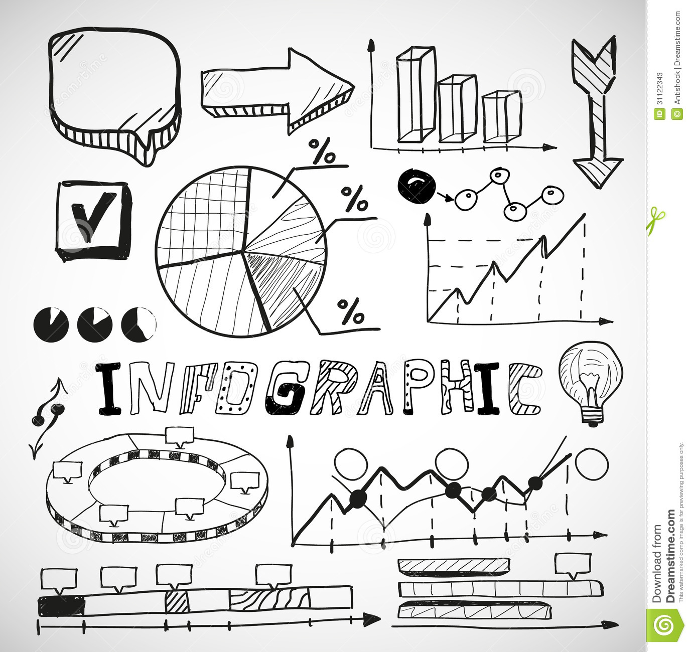 Infographic Business Graphs Doodles Stock Vector