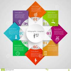 Circular Diagram Flow Chart Template Ford Sierra Radio Wiring Infographic Circle Flowchart Stock Vector Image