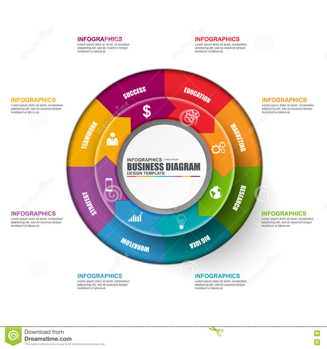 circular diagram flow chart template vga to rca wiring process infographic vector illustration