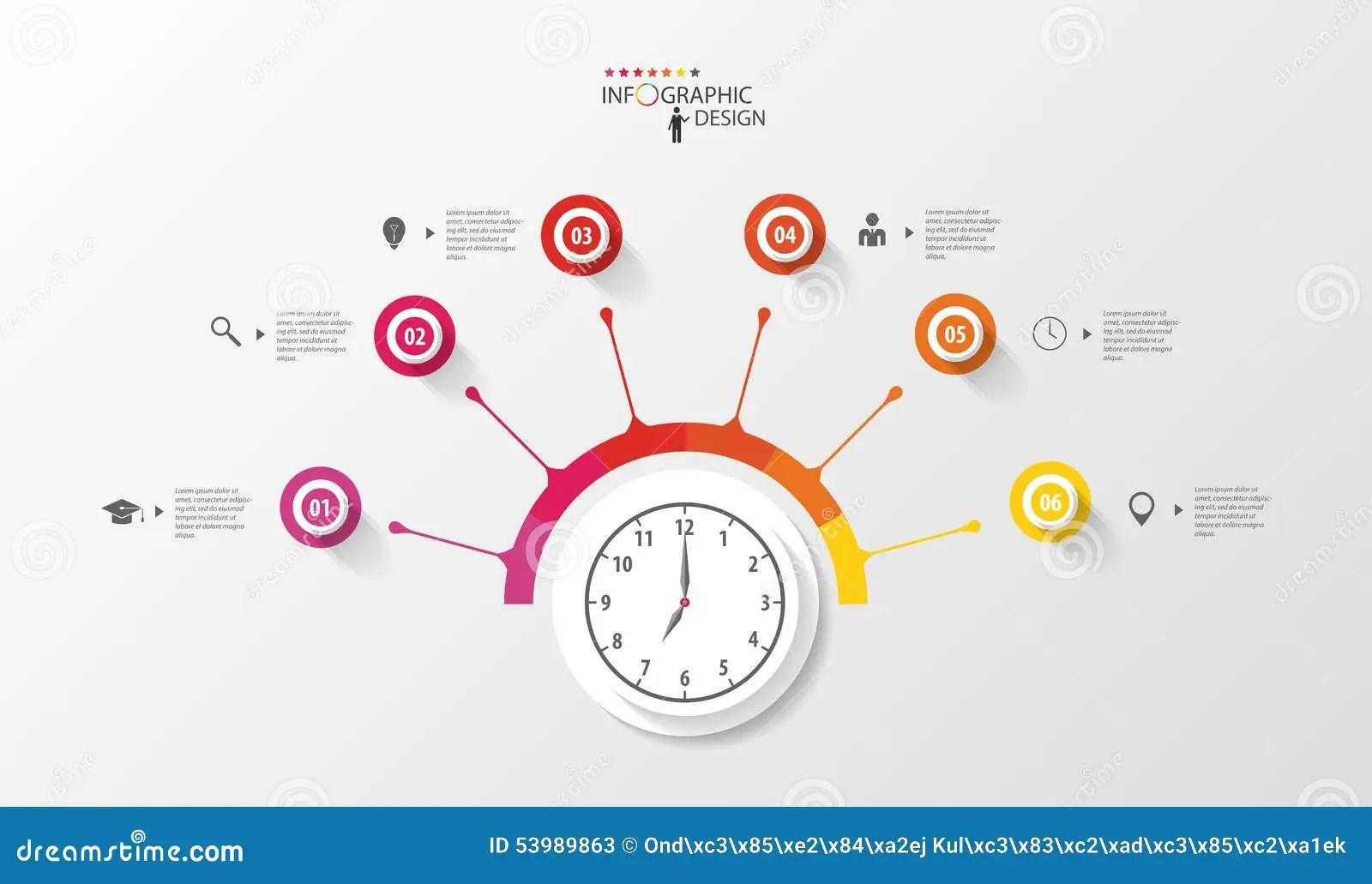 Infographic Cirkel Med Klockan Mall For Affarsplan Vektor