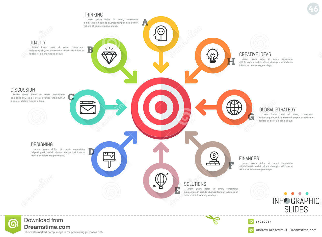 hight resolution of flower petal diagram with 8 circular elements icons text boxes and arrows pointing at target world business problems and global strategies concept