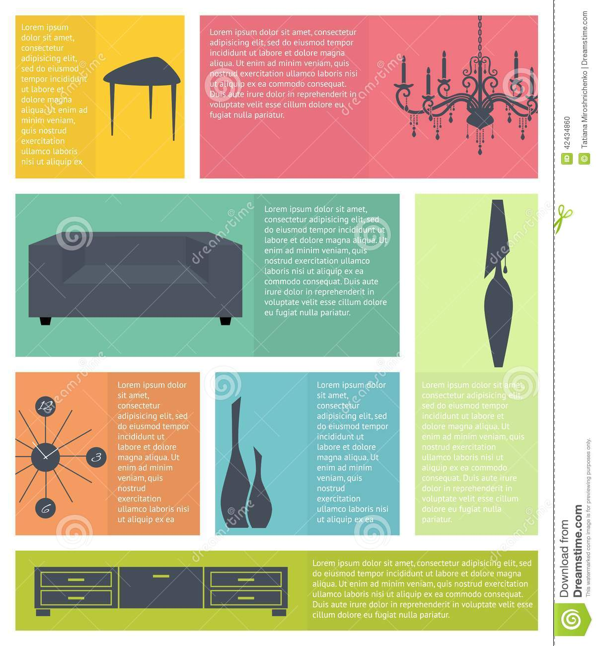 Infographic Of Interior Home Furniture Icons Stock Vector