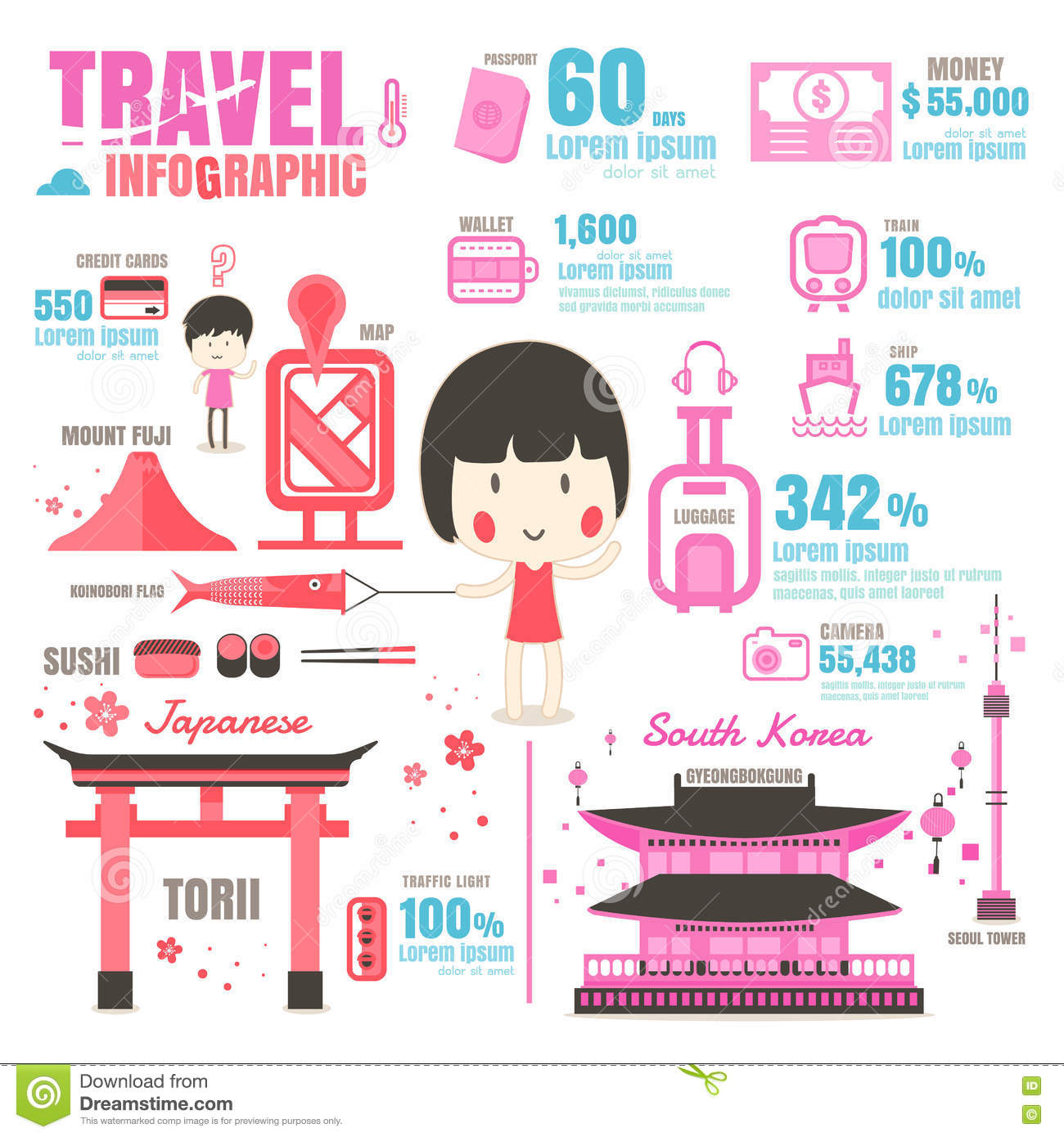 Infographic Japan South Korea On White Background Stock