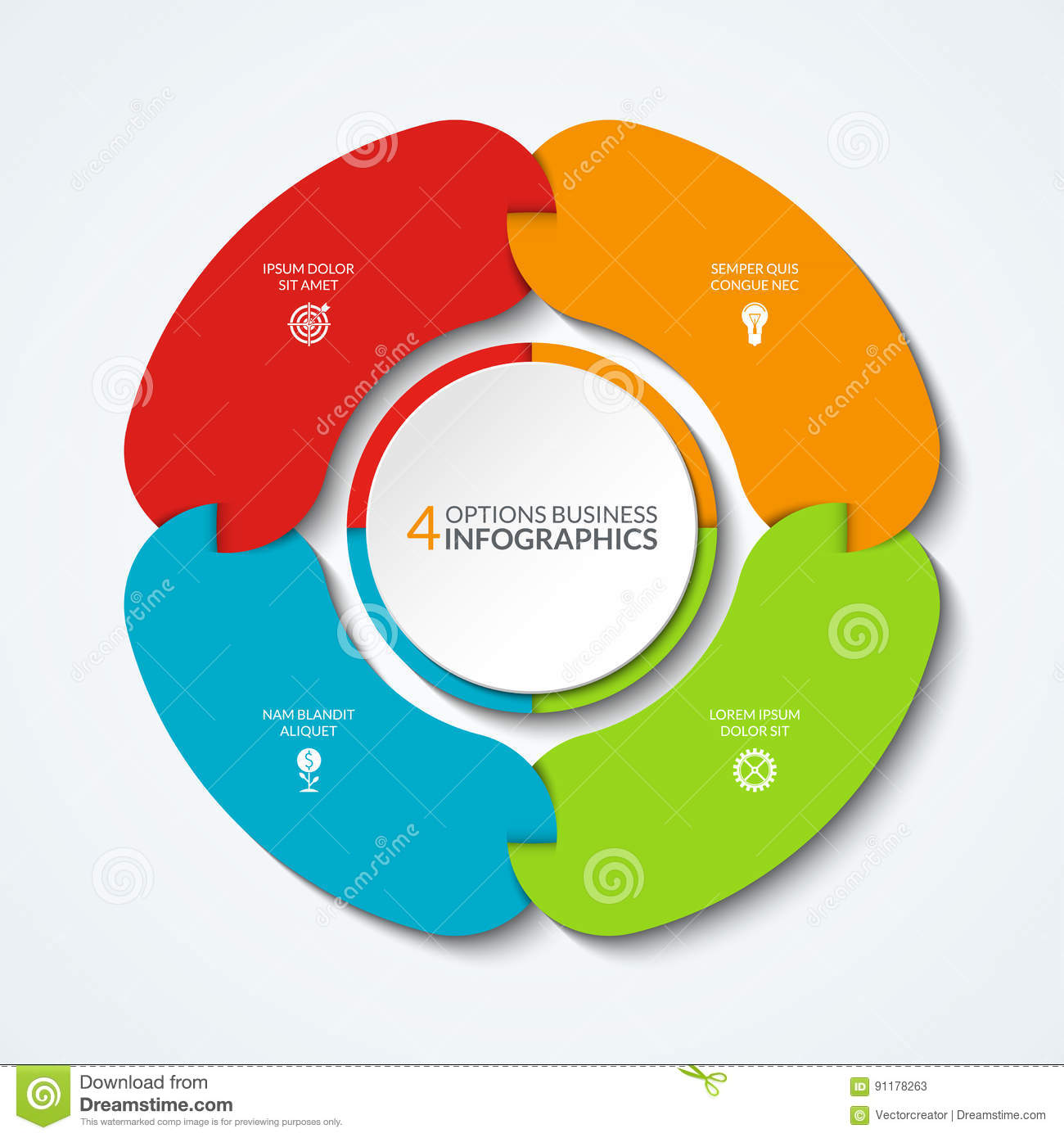 hight resolution of infographic pie chart business concept of 4 connected parts segments