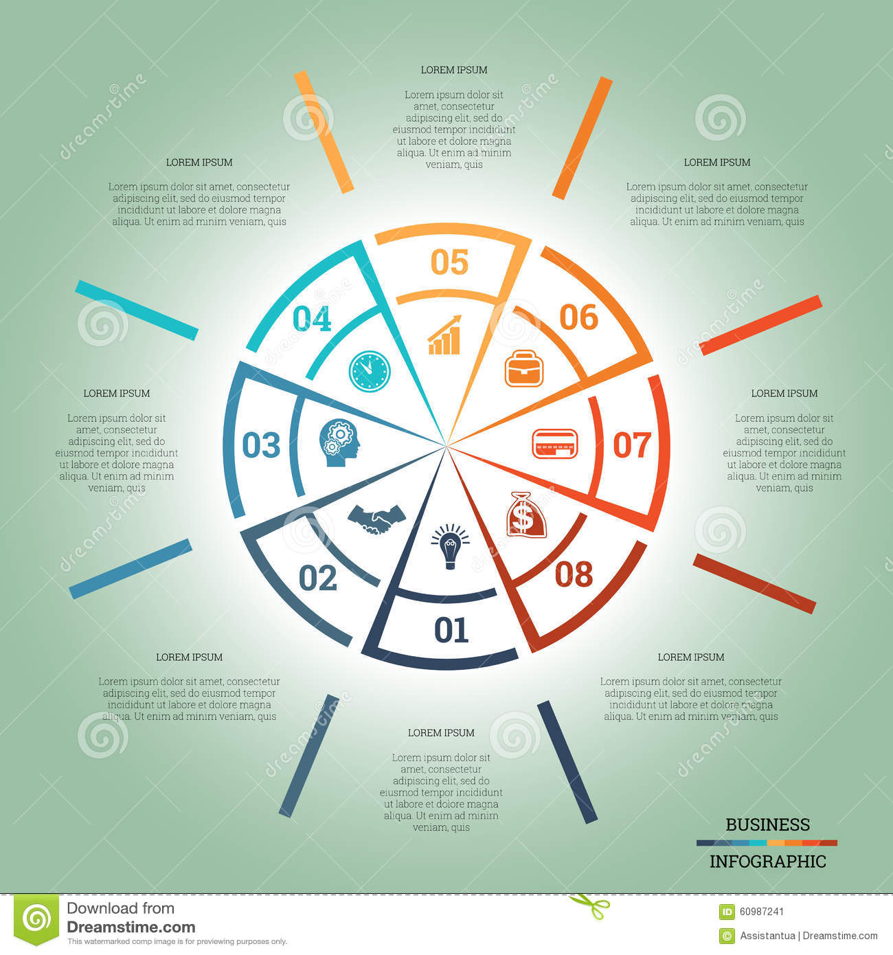 Infographic Pie Chart Template Colourful Circle Eight