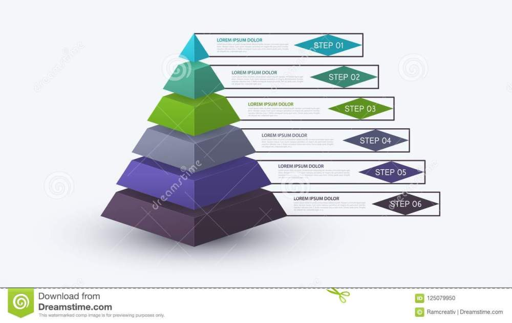 medium resolution of infographic pyramid with step structure business concept with 6 options pieces or steps block