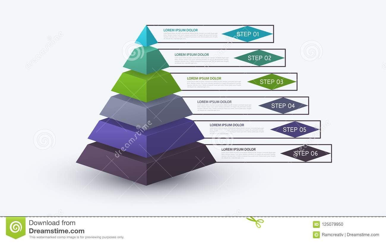 hight resolution of infographic pyramid with step structure business concept with 6 options pieces or steps block