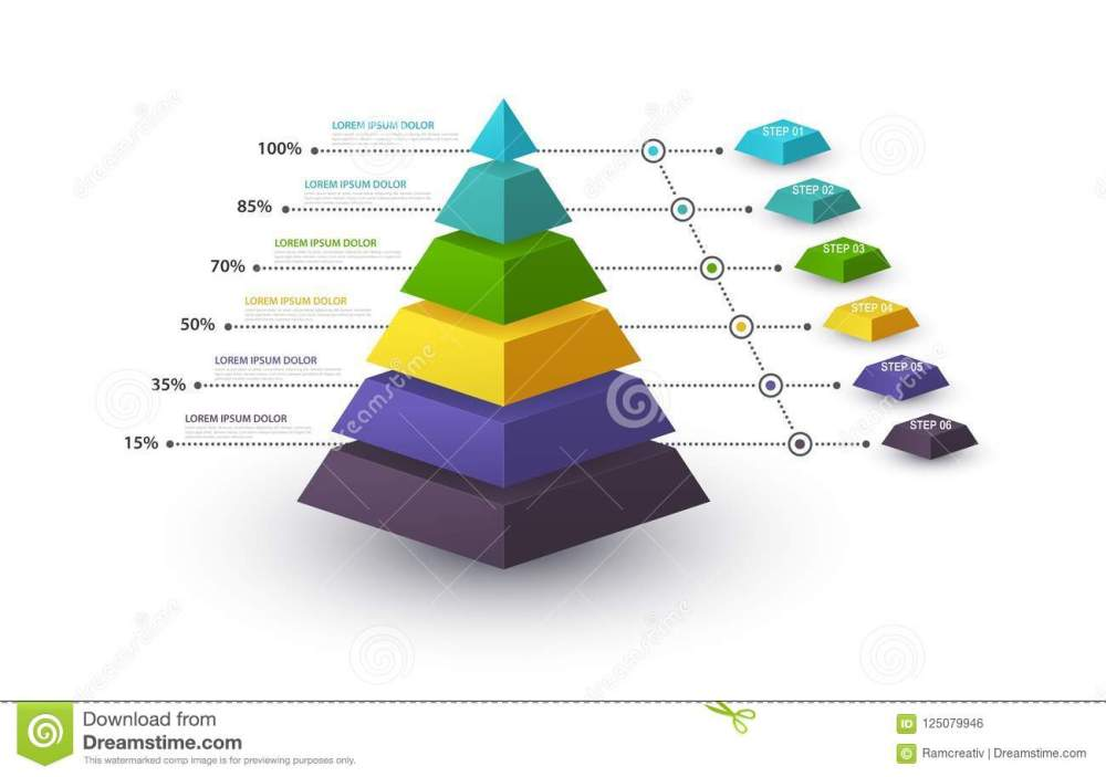 medium resolution of infographic pyramid with step structure and with percentages business concept with 6 options pieces or