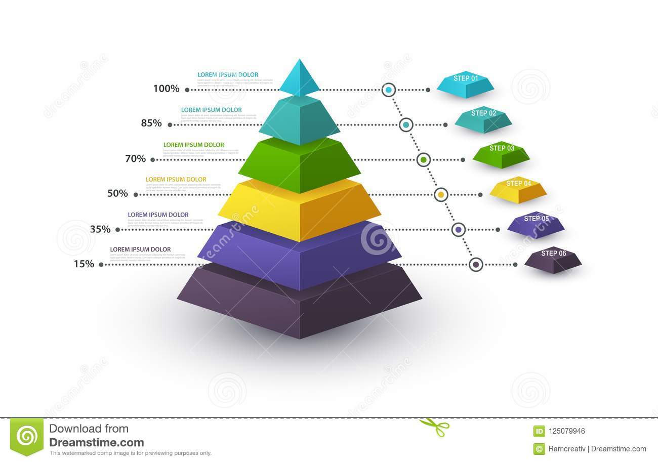 hight resolution of infographic pyramid with step structure and with percentages business concept with 6 options pieces or