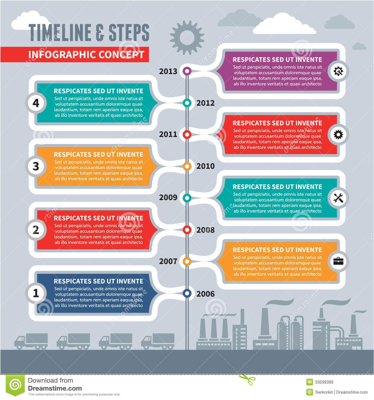 Infographic Vector Concept Timeline & Steps Stock Vector