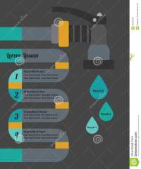 Infographic Water Hose, Head Nozzle And Water Drops Stock ...