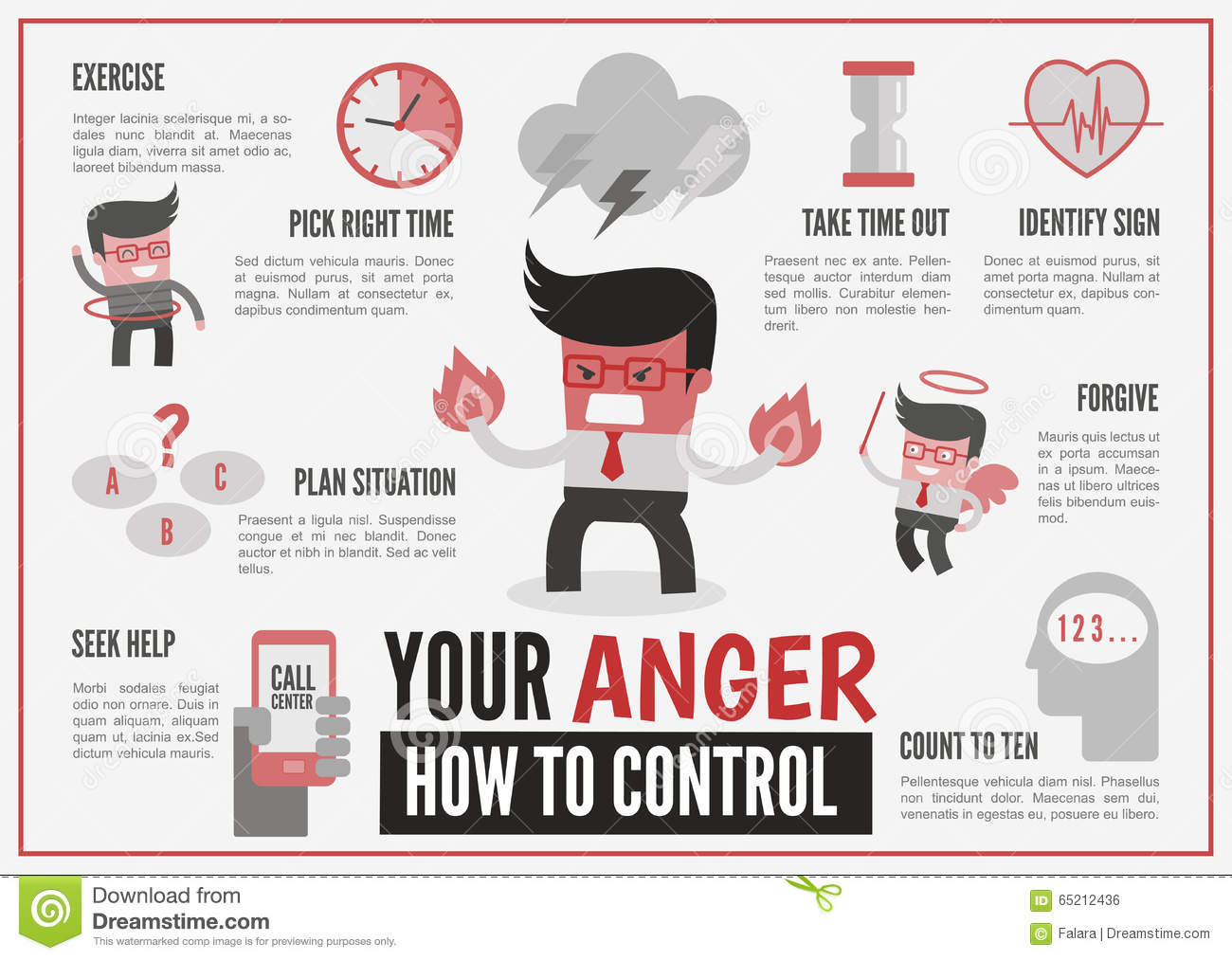 Infographics About Anger Management Stock Vector
