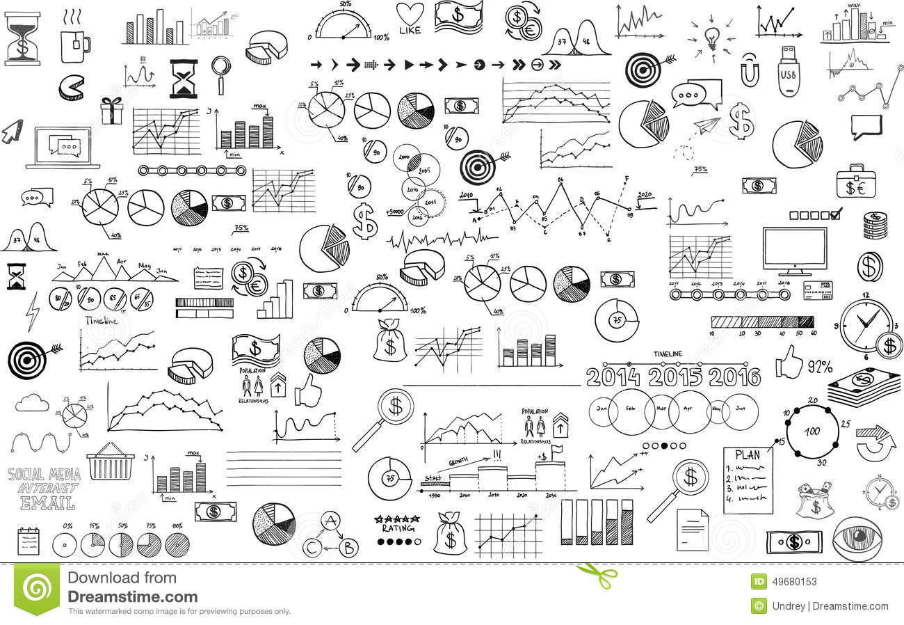 Infographics Collection Hand Drawn Doodle Sketch Stock