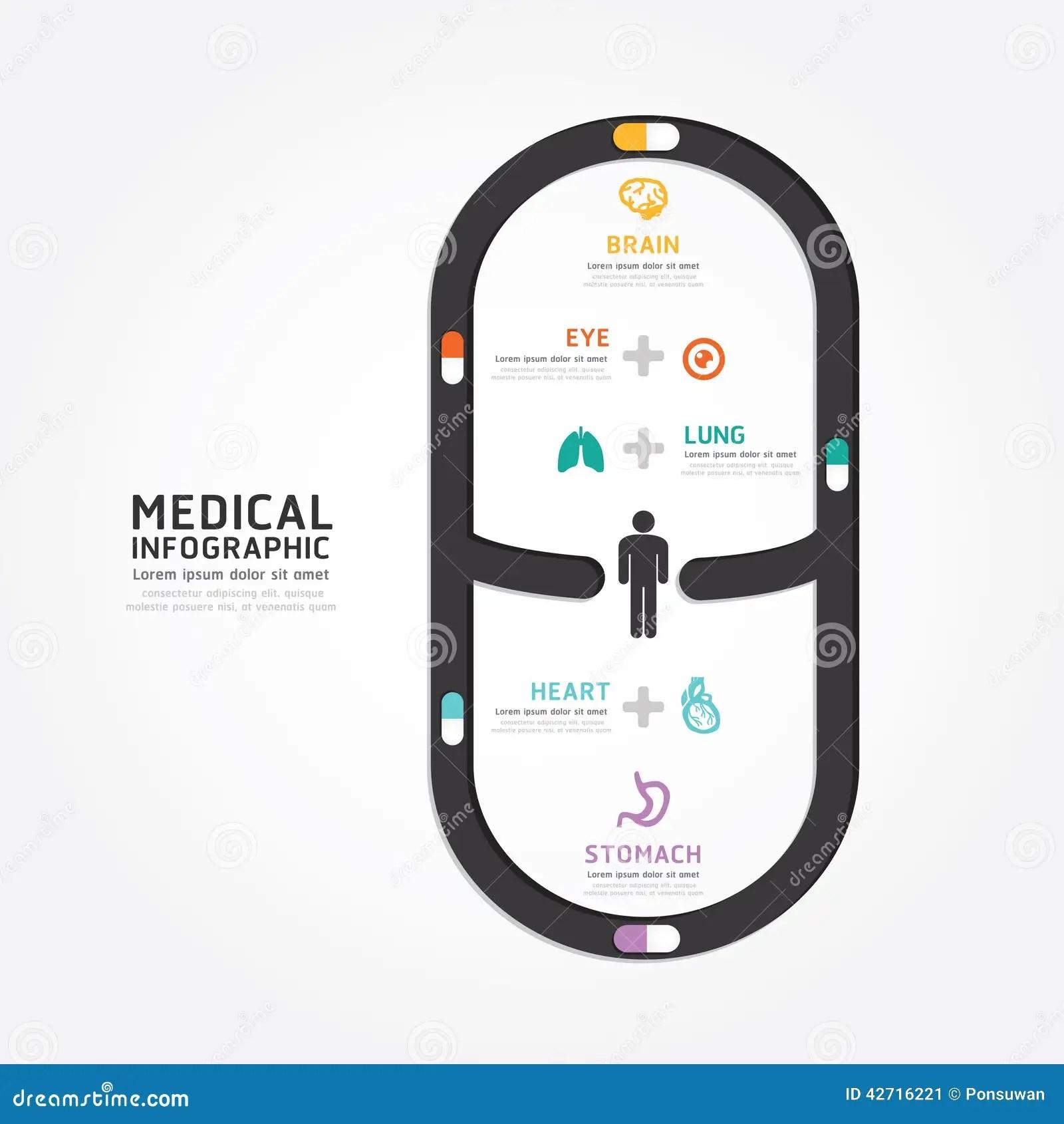 Infographics Vector Medical Capsule Design Diagram Line