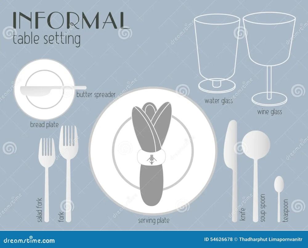 medium resolution of informal table setting stock vector illustration of