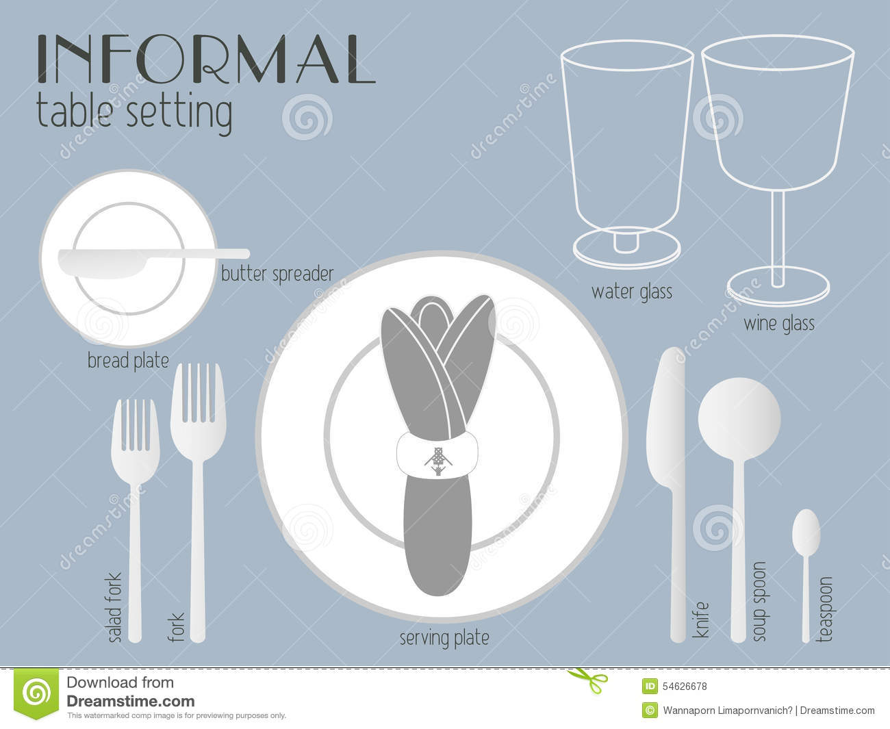 hight resolution of informal table setting stock vector illustration of