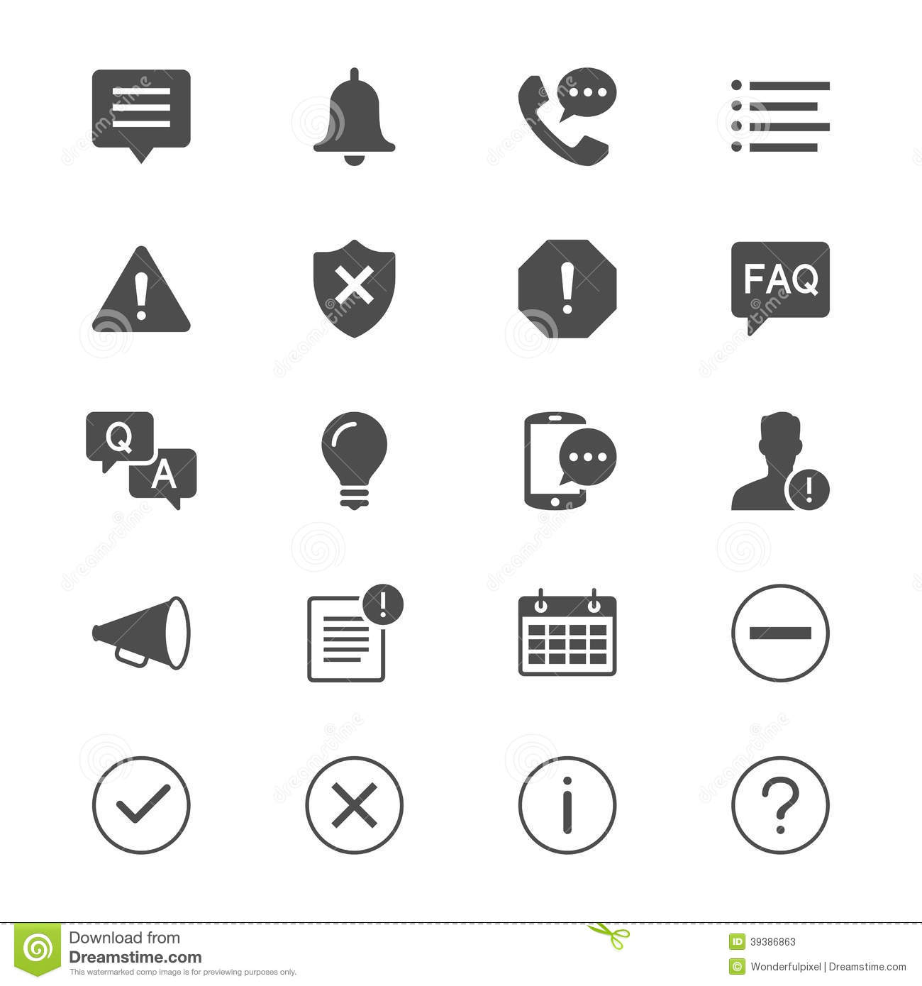 Information And Notification Flat Icons Stock Vector