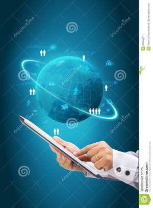 Information Technology Business Concept, Network Process Diagram Stock Illustration