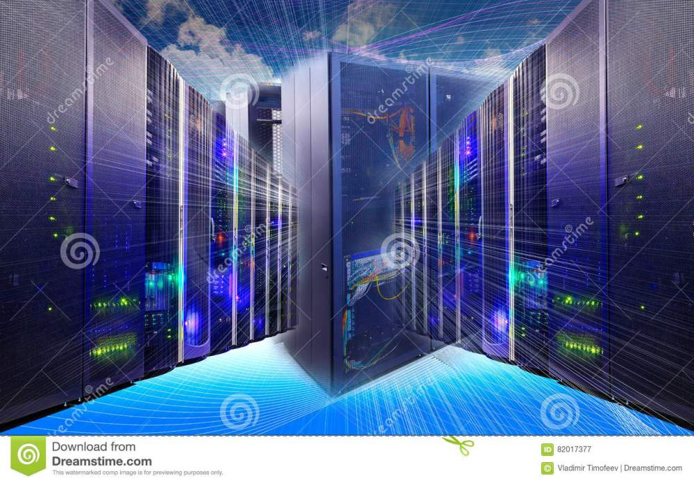 medium resolution of information technology collage of data center with racks equipment and cables router