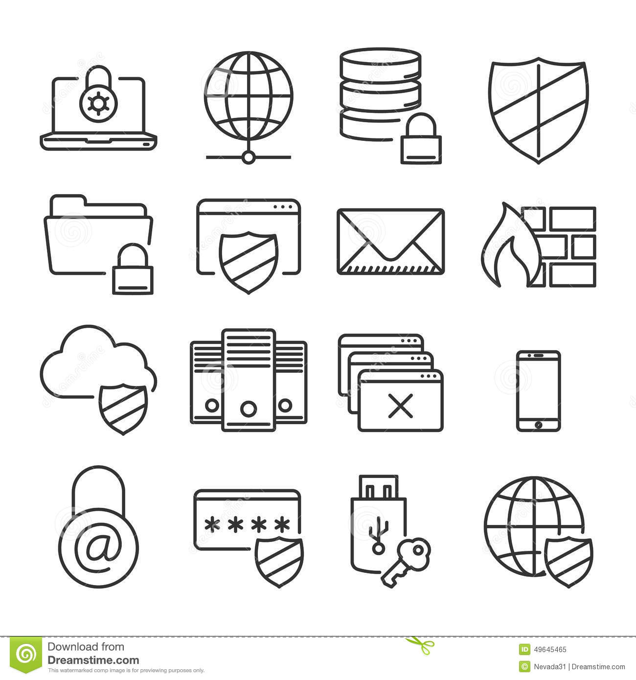 Information Technology Security Icons Plain Line Stock