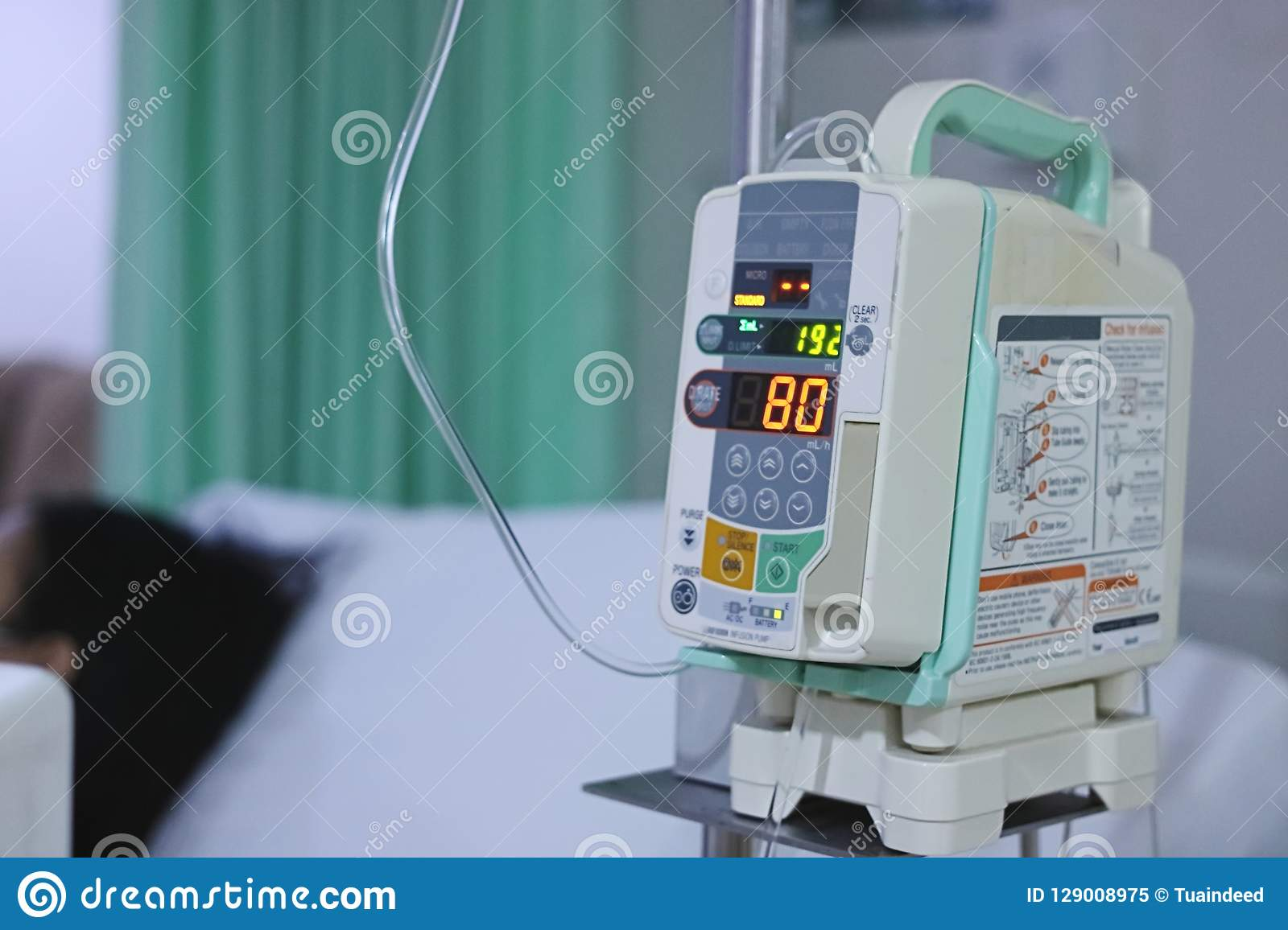 Infusion Pump Intravenous IV Drip In The Hospital With Copy Space Background. Stock Image - Image of emergency. copy: 129008975