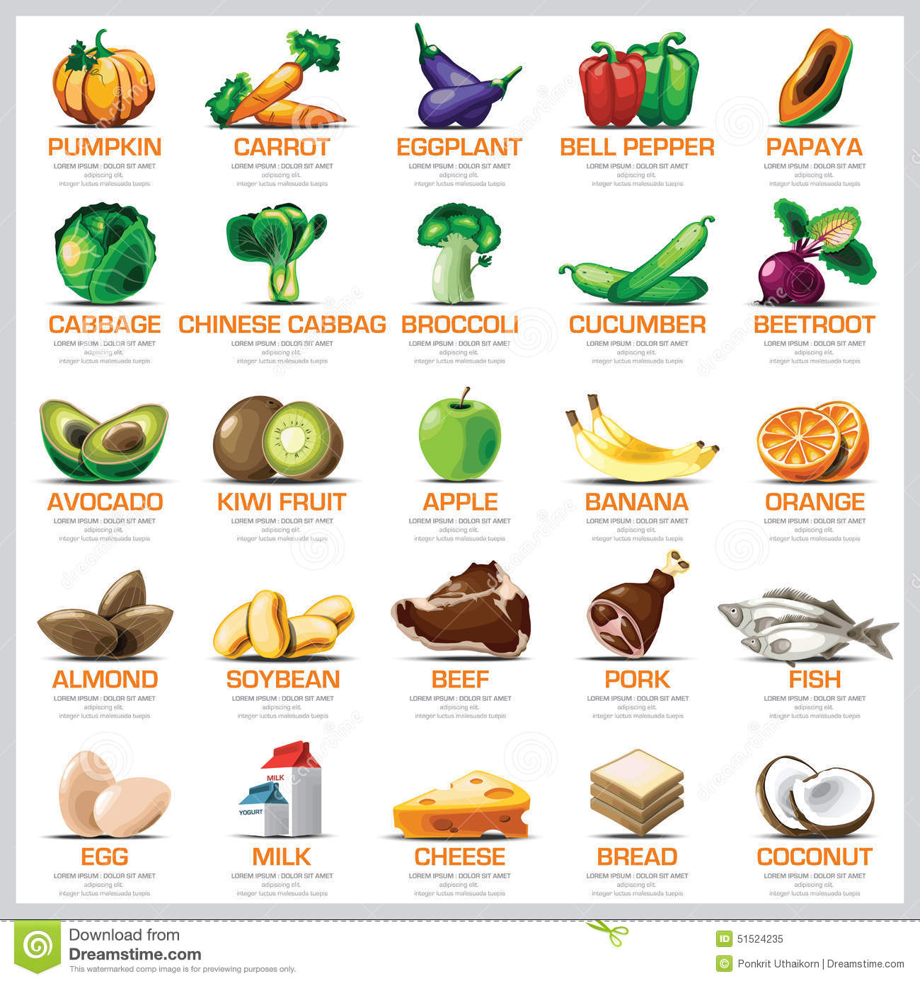 Ingre Nts Icons Set Vegetable Fruit And Meat For